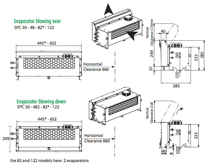 Friax EVA evaporator dimensions