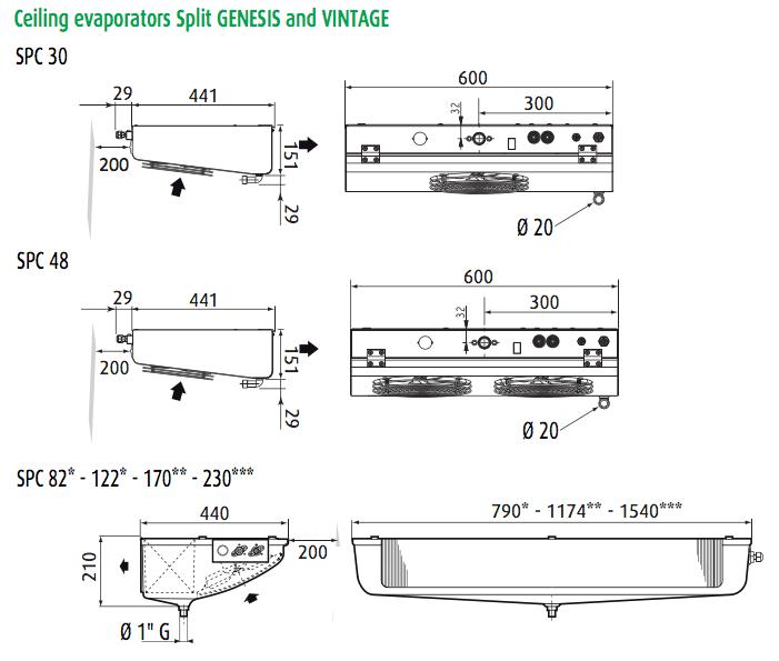 EVPL evaporator dimensions