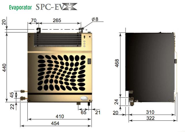 Friax EVX evaporator dimensions