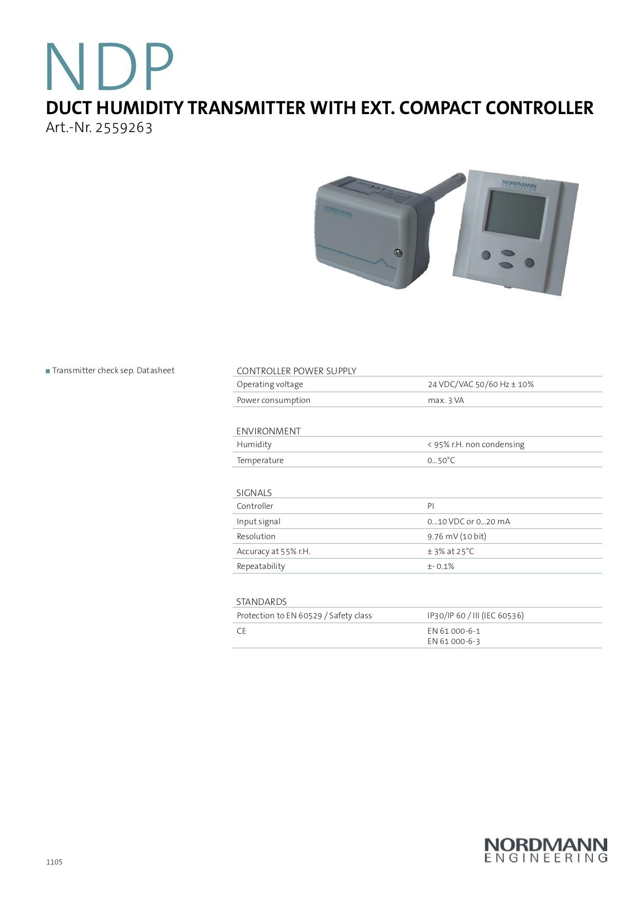 Nordmann PI Controller & NDC Duct Sensor - Heronhill Air
